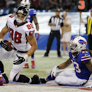 Atlanta Falcons tight end Tony Gonzalez (88) scores on a touchdown reception in front of Buffalo Bills cornerback Ron Brooks (33) during the second half of an NFL football game on Sunday, Dec. 1, 2013, in Toronto The Associated Press
