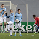 From left: Manchester City's James Milner, Sergio Aguero and David Silva block a free kick from CSKA's Zoran Tosic during the Champions League Group E soccer match between CSKA Moscow and Manchester City at Arena Khimki stadium in Moscow, Russia, Tuesday