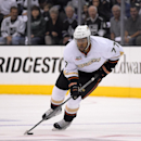Anaheim Ducks right wing Devante Smith-Pelly moves the puck during the first period in Game 6 of an NHL hockey second-round Stanley Cup playoff series against the Los Angeles Kings, Wednesday, May 14, 2014, in Los Angeles. (AP Photo) The Associated Press