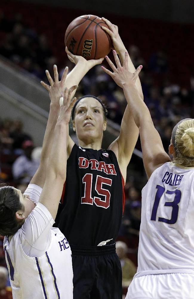 Utah's Michelle Plouffe (15) puts up a shot between Washington's Kelsey Plum, left, and Katie Collier in the second half of an NCAA college basketball game in the Pac-12 women's tournament Thursday, March 6, 2014, in Seattle. Plouffe led all scorers with 30 points and Utah won 65-53