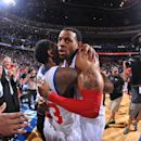 PHILADELPHIA, PA - MAY 10:  Andre Iguodala #9 and Louis Williams #23 of the Philadelphia 76ers celebrate with a hug after defeating the Chicago Bulls in Game Six of the Eastern Conference Quarterfinals during the 2012 NBA Playoffs on May 10, 2012 at the Wells Fargo Center in Philadelphia, Pennsylvania.  (Photo by Jesse D. Garrabrant/NBAE via Getty Images)