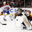 Anaheim Ducks goalie John Gibson, right, blocks a shot as Montreal Canadiens right wing Dale Weise looks on during the first period of an NHL hockey game in Anaheim, Calif., Wednesday, March 4, 2015. (AP Photo/Chris Carlson)