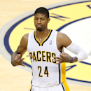 INDIANAPOLIS, IN - MAY 28: Paul George #24 of the Indiana Pacers celebrates after hitting a shot against the Miami Heat during Game Five of the Eastern Conference Finals of the 2014 NBA Playoffs at Bankers Life Fieldhouse on May 28, 2014 in Indianapolis, Indiana. (Photo by Joe Robbins/Getty Images)