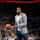 OKLAHOMA CITY, OK- March 22: Kevin Durant #35 of the Oklahoma City Thunder shoots around during a game against the Miami Heat on March 22, 2015 at Chesapeake Energy Arena in Oklahoma City, Oklahoma. (Photo by Layne Murdoch/NBAE via Getty Images)