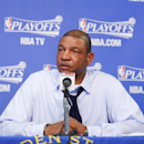 Head coach Doc Rivers of the Los Angeles Clippers speaks to the press after facing the Golden State Warriors in Game Four of the Western Conference Quarterfinals during the 2014 NBA Playoffs at Oracle Arena on April 27, 2014 in Oakland, California. (Photo by Rocky Widner/NBAE via Getty Images)