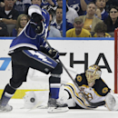 Boston Bruins goalie Tuukka Rask (40), of Finland, stops Tampa Bay Lightning defenseman Victor Hedman (77), of Sweden, in a shoot out during an NHL hockey game Saturday, March 8, 2014, in Tampa, Fla. The Bruins won the game 4-3 The Associated Press