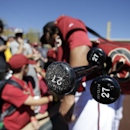 Arizona Diamondbacks left fielder Matt Tuiasosopo signs auto graphs before a spring training baseball game against the San Diego Padres in Scottsdale, Ariz., Sunday, March 9, 2014 The Associated Press