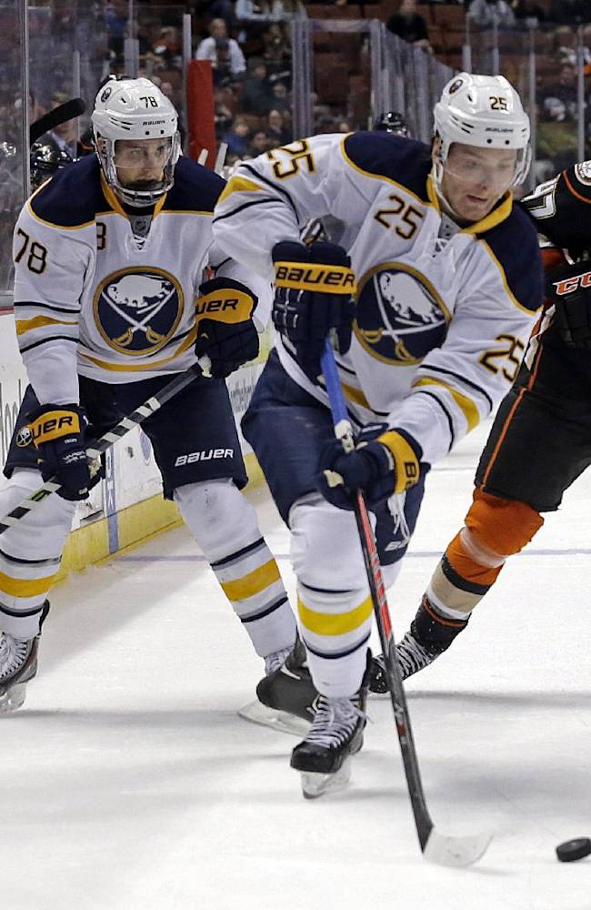 Buffalo Sabres center Mikhail Grigorenko (25), of Russia, skates past Anaheim Ducks defenseman Hampus Lindholm (47), of Sweden, in the third period of an NHL hockey game in Anaheim, Calif., Friday, Nov. 8, 2013. The Ducks won, 6-2