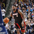 DALLAS, TX - FEBRUARY 18: LeBron James #6 of the Miami Heat handles the ball against the Dallas Mavericks on February 18, 2014 at the American Airlines Center in Dallas, Texas. (Photo by Glenn James/NBAE via Getty Images)