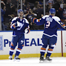 New York Islanders center Frans Nielsen, let, celebrates his goal against the St. Louis Blues with defenseman Nick Leddy (2) during the first period of an NHL hockey game at Nassau Coliseum on Saturday, Dec. 6, 2014, in Uniondale, N.Y The Associated Press