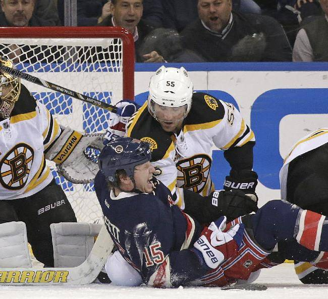 New York Rangers right wing Derek Dorsett (15) grimaces after colliding with Boston Bruins defenseman Johnny Boychuk (55) in front of Bruins goalie Tuukka Rask (40) in the first period of their NHL hockey game at Madison Square Garden in New York, Tuesday, Nov. 19, 2013