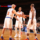 NEW YORK, NY - MARCH 29: Jason Kidd #5 of the New York Knicks high-fives teammates J.R. Smith #8 and Raymond Felton #2 during the game against the Charlotte Bobcats on March 29, 2013 at Madison Square Garden in New York City. (Photo by Nathaniel S. Butler/NBAE via Getty Images)