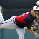 Atlanta Braves starting pitcher Kris Medlen (54) warms up before the first inning of an exhibition spring training baseball game against the Detroit Tigers in Lakeland, Fla., Thursday, Feb. 27, 2014. The Tigers won 5-2 The Associated Press