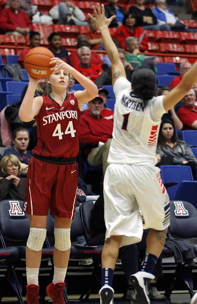 Arizona's Candice Warthen (1) tries to block Stanford's Karlie Samuelson's (44) 3-point shot in the first half of an NCAA college basketball game on Friday, Jan. 17, 2014, in Tucson, Ariz