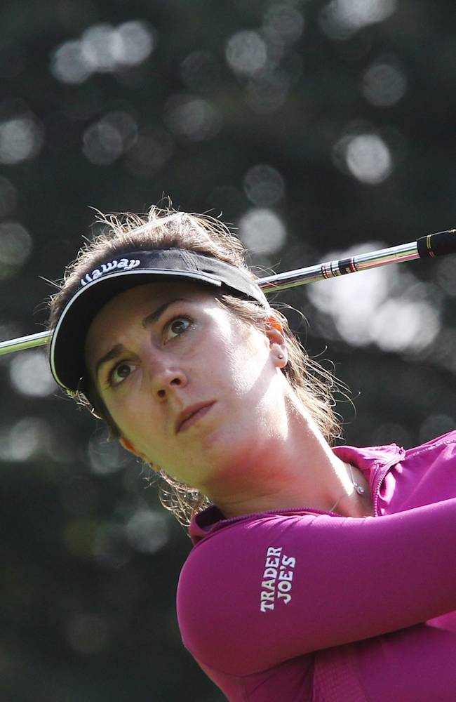 Sandra Gal, of Germany, hits her tee shot on the 17th hole at the Canadian Pacific Women's Open golf tournament in London, Ontario, Thursday, Aug. 21, 2014