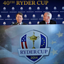 File photograph shows Golfer Tom Watson (L) and PGA of America president Ted Bishop speaking to the press after being introduced as Ryder Cup captain in New York, December 13, 2012. REUTERS/Brendan McDermid/Files
