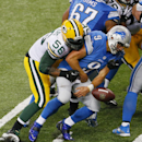 In this Sept. 21, 2014, file photo, Green Bay Packers outside linebacker Julius Peppers (56) forces Detroit Lions quarterback Matthew Stafford (9) to fumble during the second half of an NFL football game in Detroit. The veteran pass rusher has had a produ