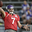Minnesota Vikings quarterback Christian Ponder throws a pass during an NFL football training camp practice, Monday, July 28, 2014, in Mankato, Minn The Associated Press