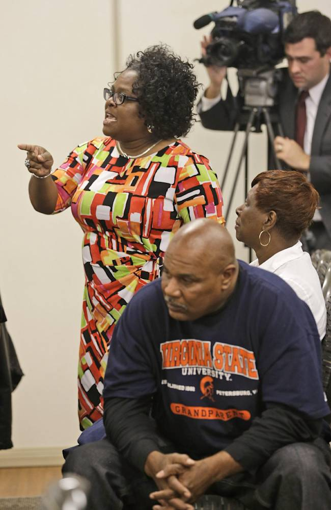 Kimberley Thorp, mother of Virginia State University quarterback Justin Thorpe, expresses concern for players during a press conference at Virginia State University in Ettrick, Va., Monday, Nov. 18, 2013.  School officials held the press conference to answer questions  after Winston-Salem quarterback Rudy Johnson was beaten in a bathroom brawl Friday, Nov. 15 that led to VSU being banned from post season play