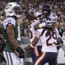 The Chicago Bears celebrate after breaking up a pass in the end zone to New York Jets wide receiver Jeremy Kerley (11) during the fourth quarter of an NFL football game, Monday, Sept. 22, 2014, in East Rutherford, N.J. The Bears won 27-19 The Associated P