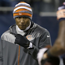 Chicago Bears wide receiver Brandon Marshall walks around the field as his teammates warm up before an NFL football game against the New Orleans Saints Monday, Dec. 15, 2014, in Chicago The Associated Press