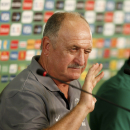 Brazil head coach Luiz Felipe Scolari gestures during a news conference in Fortaleza, Brazil, Tuesday, June 18, 2013. Brazil will face Mexico at the soccer Confederations Cup. (AP Photo/Fernando Llano)