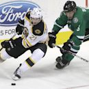 Boston Bruins left wing Loui Eriksson (21) and Dallas Stars defenseman Jamie Oleksiak (5) skate for the puck during the second period of an NHL hockey game Tuesday, Jan. 20, 2015, in Dallas The Associated Press