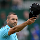 Sergio Garcia of Spain acknowledges the crowd as he walks up to the 18th green during the final round of the British Open Golf championship at the Royal Liverpool golf club, Hoylake, England, Sunday July 20, 2014