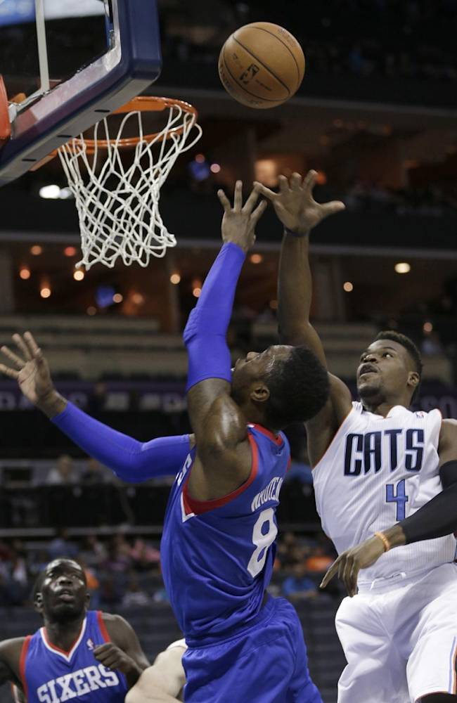 Charlotte Bobcats' Jeff Adrien (4) blocks a shot by Philadelphia 76ers' Tony Wroten (8) during the second half of a preseason NBA basketball game in Charlotte, N.C., Thursday, Oct. 17, 2013. The Bobcats won 110-84