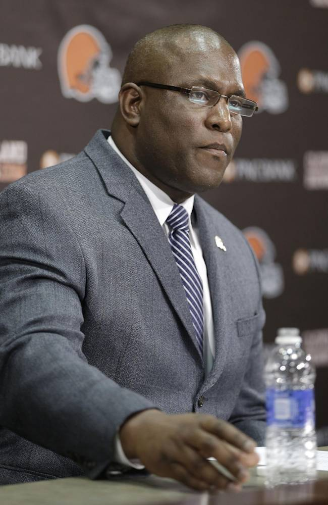 Cleveland Browns general manager Ray Farmer answers questions during a news-conference Tuesday, Feb. 11, 2014, in Berea, Ohio. Farmer, who was pursued by Miami to be the Dolphins' GM this winter, has been promoted and will immediately take the over the team's football operations and lead the Browns during free agency and draft. Cleveland has two first-round picks in May's draft and is well under the salary cap to spend on free agents