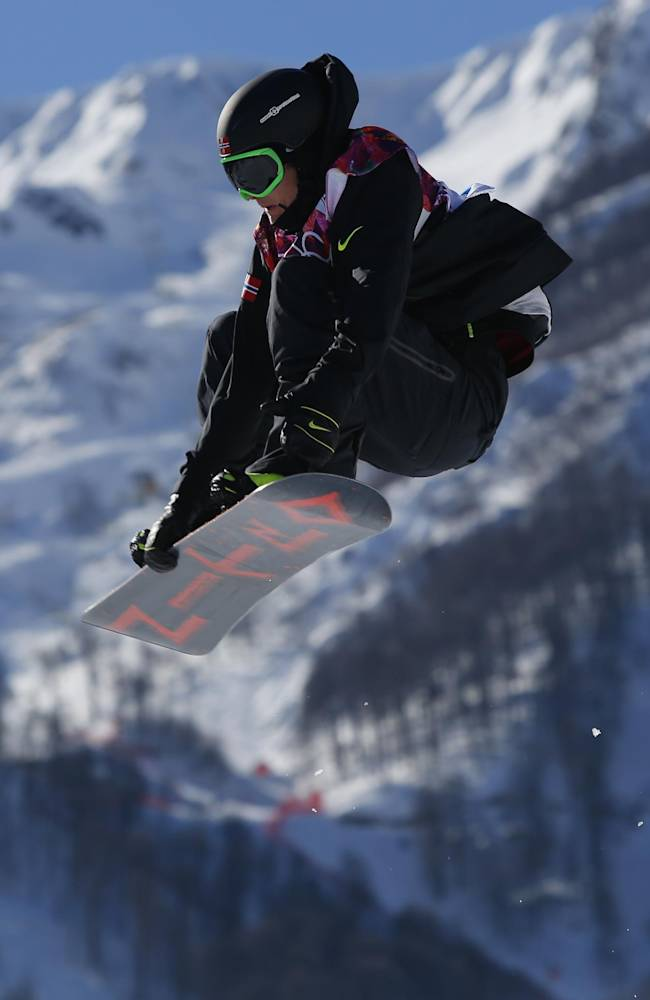 Norway's Gjermund Braaten takes a jump during the men's  snowboard slopestyle final at the Rosa Khutor Extreme Park, at the 2014 Winter Olympics, Saturday, Feb. 8, 2014, in Krasnaya Polyana, Russia