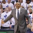 Memphis Grizzlies head coach Lionel Hollins gestures during the second half of Game 5 of their Western Conference Semifinals NBA basketball playoff series against the Oklahoma City Thunder in Oklahoma City, Wednesday, May 15, 2013.  Memphis won 88-84. (AP Photo/Alonzo Adams)