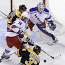 Boston Bruins center Patrice Bergeron (37) fires a shot at New York Rangers goalie Cam Talbot, for a goal, during the first period of an NHL hockey game in Boston, Thursday, Jan. 15, 2015 The Associated Press