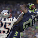 Seattle Seahawks wide receiver Chris Matthews (13) receives a pass against New England Patriots cornerback Kyle Arrington (25) during the first half of NFL Super Bowl XLIX football game Sunday, Feb. 1, 2015, in Glendale, Ariz The Associated Press