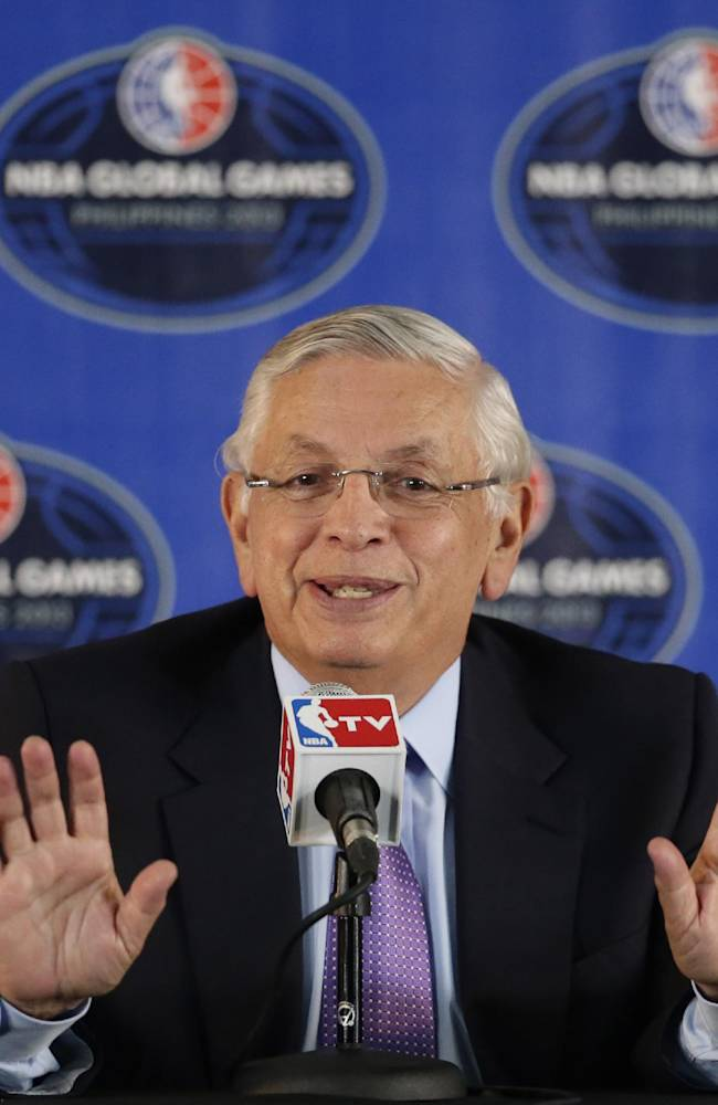 Outgoing NBA Commissioner David Stern answers questions from reporters at a news conference prior to the start of the pre-season game between the Houston Rockets and Indiana Pacers Thursday Oct. 10, 2013 at the Mall of Asia Arena at suburban Pasay city, south of Manila, Philippines. The NBA game in this basketball-crazy Southeast Asian nation is part of the NBA's global schedule that will have eight teams play in six countries this month