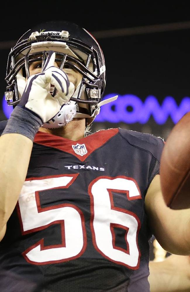 Houston Texans inside linebacker Brian Cushing celebrates a touchdown against the San Diego Chargers during the second half of an NFL football game Monday, Sept. 9, 2013, in San Diego