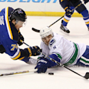 Vancouver Canucks defenseman Christopher Tanev, right, disrupts an approach by St. Louis Blues right wing T.J. Oshie during the first period of an NHL hockey game Thursday, Oct. 23, 2014, in St. Louis. The Canucks won 4-1 The Associated Press