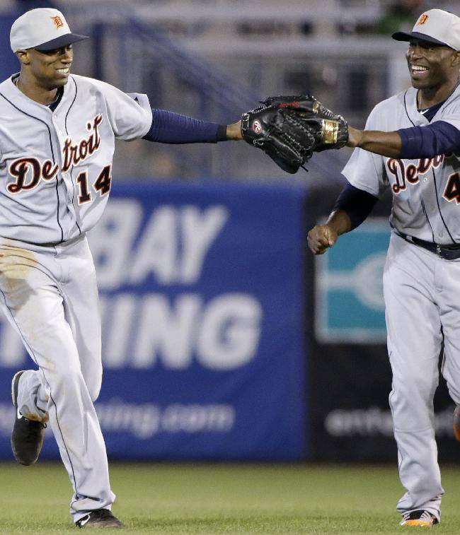Detroit Tigers right fielder Torii Hunter (48) congratulates center fielder Austin Jackson (14) on a defensive play in a spring training baseball game against the New York Yankees in Tampa, Fla., Friday, March 7, 2014
