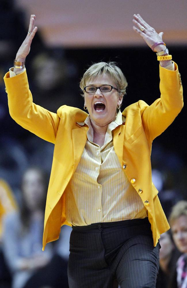 Tennessee head coach Holly Warlick yells to her player's in the second half of an NCAA college basketball game against Vanderbilt, Monday, Feb. 10, 2014, in Knoxville, Tenn. Tennessee won 81-53