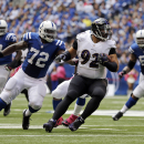 In this Oct. 5, 2014, file photo, Baltimore Ravens nose tackle Haloti Ngata (92) is chased by Indianapolis Colts center Jonotthan Harrison (72) after intercepting a pass during the first half of an NFL football game in Indianapolis. There is seemingly no