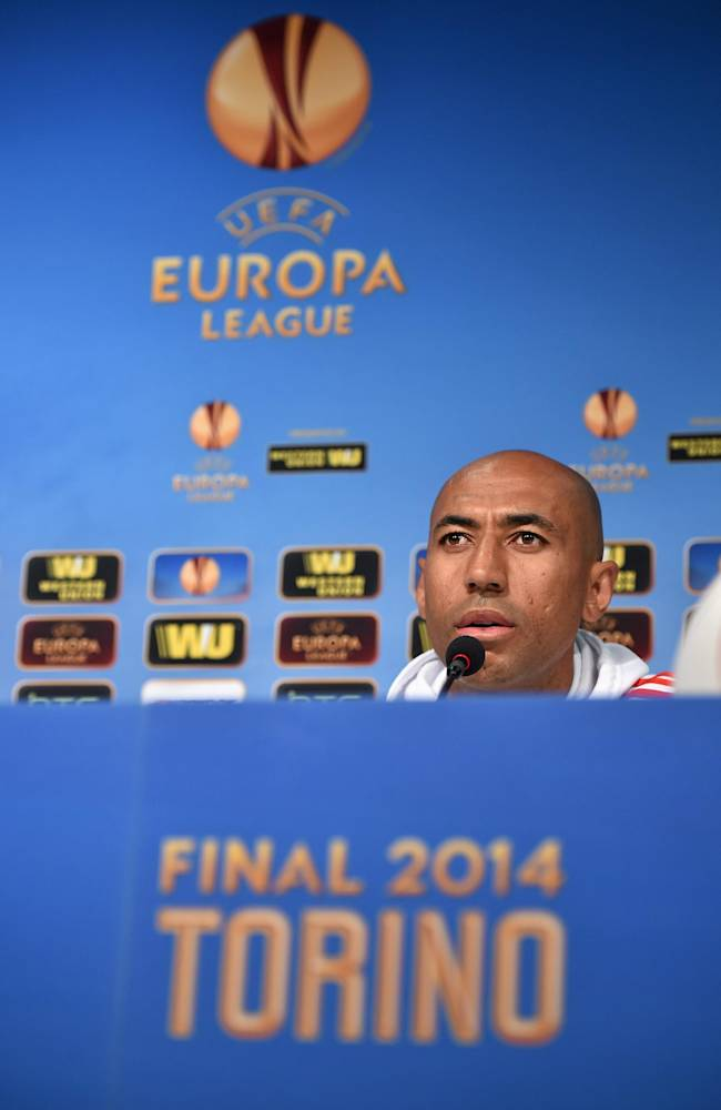 In this photo made available by Uefa, Benfica captain Luiso listens during a press conference ahead of tomorrow's final of the Europa League against Sevilla, at the Juventus stadium in Turin, Italy, Tuesday, May 13, 2014 ( AP Photo/Uefa, HO)