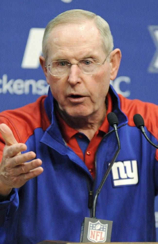 New York Giants coach Tom Coughlin speaks to the media Monday, Dec. 30, 2013, in East Rutherford, N.J. after the Giants season ended with a 7-9 record
