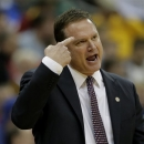 Kansas coach Bill Self talks to a player during the first half an NCAA college basketball game against Texas Tech in the Big 12 men's tournament on Thursday, March 14, 2013, in Kansas City, Mo. (AP Photo/Charlie Riedel)