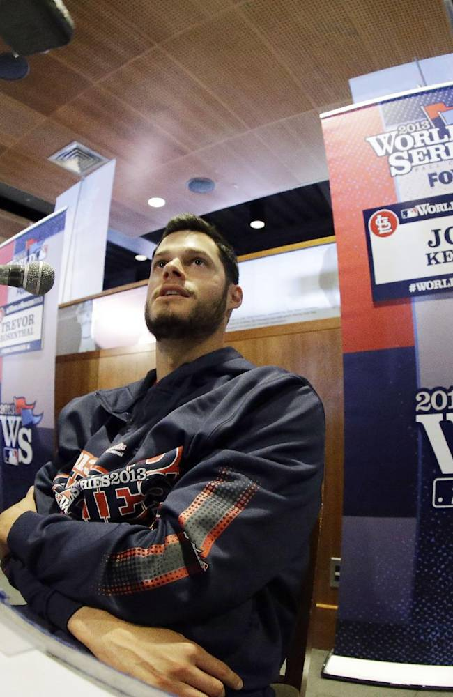 St. Louis Cardinals' Joe Kelly answers questions during a media availability for Game 1 of baseball's World Series against the Boston Red Sox Tuesday, Oct. 22, 2013, in Boston