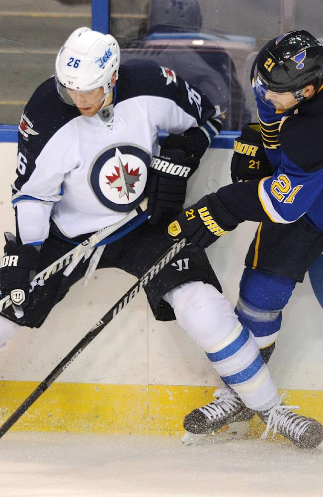 St. Louis Blues' Patrik Berglund (21), of Sweden, and Winnipeg Jets' Blake Wheeler (26) battle for the puck during the second period of an NHL hockey game Tuesday, Oct. 29, 2013, in St. Louis
