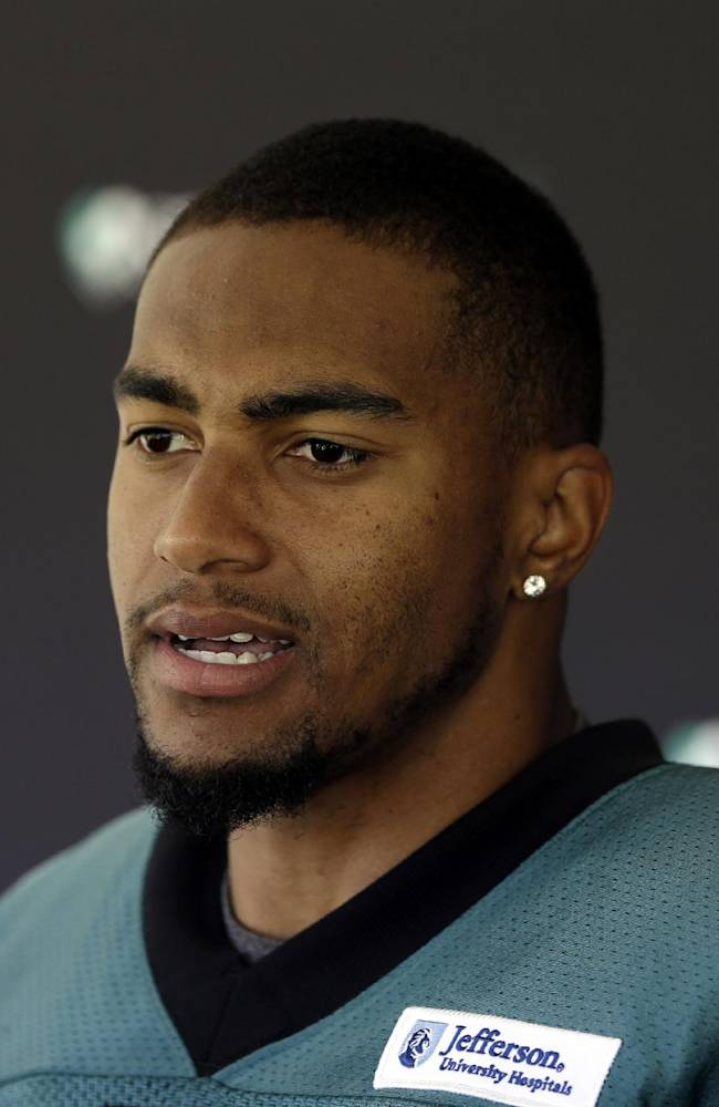 Philadelphia Eagles wide receiver DeSean Jackson speaks during a news conference after practice at the NFL football team's training facility, Tuesday, Oct. 15, 2013, in Philadelphia