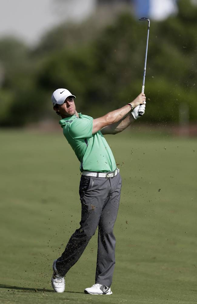 Rory McIlroy of Northern Ireland follows his ball during the 3rd round of the World Tour Golf Championship in Dubai, United Arab Emirates, Saturday, Nov. 16, 2013
