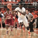 Illinois' Brandon Paul (3) steals the ball in front of Indiana's Remy Abell (23) during the first half of an NCAA college basketball game at Assembly Hall in Champaign, Ill., on Thursday, Feb. 7, 2013. (AP Photo/John Dixon)