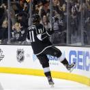 Los Angeles Kings center Anze Kopitar (11) reacts after scoring against the San Jose Sharks in the second period during Game 5 of the Western Conference semifinals in the NHL hockey Stanley Cup playoffs, Thursday, May 23, 2013, in Los Angeles. (AP Photo/Mark J. Terrill)