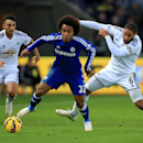 Chelsea's Willian, center, in action against Swansea City's Ashley Williams, right, and Neil Taylor during their English Premier League soccer match at the Liberty Stadium, Swansea, Wales, Saturday, Jan. 17, 2015